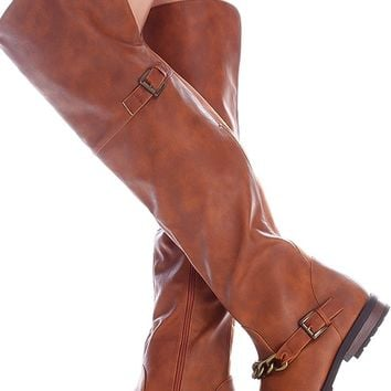 CHESTNUT FAUX LEATHER SIDE ZIPPER CHAIN ACCENT OVER THE KNEE BOOTS