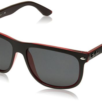 Ray-Ban RB4147 - TOP MAT BLACK ON RED TRA Frame DARK GREY Lenses 56mm Non-Polari