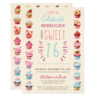 Cute Cupcakes | Very Sweet Sixteen Birthday Party Card