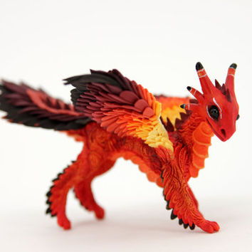Feathered Dragon Figurine Sculpture Red Orange Fire Fantasy Bird
