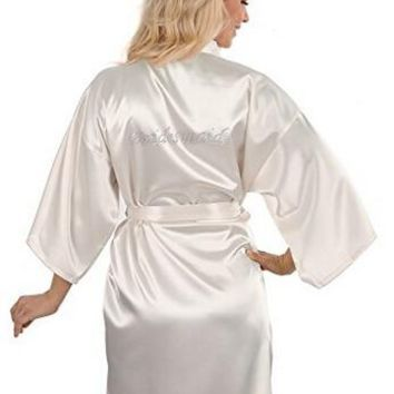 Sexy Yukata Night Robe Short Satin Wedding Bride Bridesmaid Robes With Clear Rhinestones-Bride&Bridesmaid Edition Dressing Gown