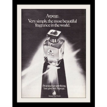 "1974 Lanvin Arpege Perfume Ad ""Glass Bottle"" Vintage Advertisement Print"