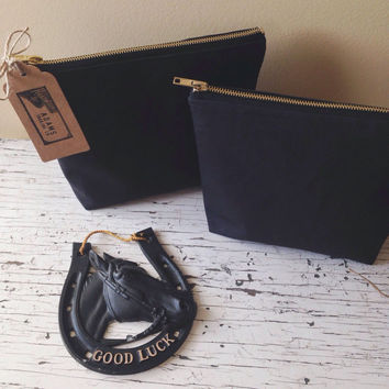 MADE TO ORDER • Adams Trading Co. Black Canvas Zipper Bag/Pouch