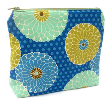Blue Chrysanthemums Makeup Accessory Bag - Blue Green Mums Floral Flower Polka Dots Make Up Accessories Bag Pouch Clutch