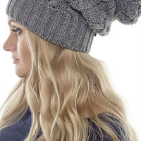 Slouchy Beanie Hat,Crocheted Hat Womens,Gray Hat Pompon,Fall Fashion.