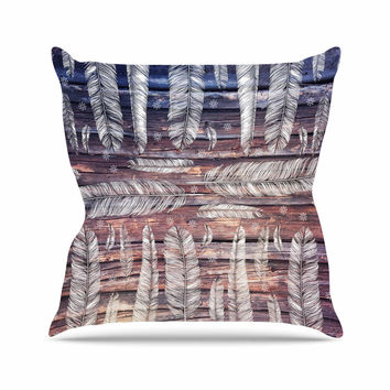 "Suzanne Carter ""Snowflakes And Feathers"" Blue White Outdoor Throw Pillow"