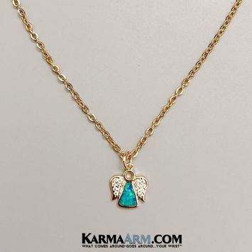 Necklace | ANGEL Charm | CZ Diamond Opal | Delicate Chain Necklace