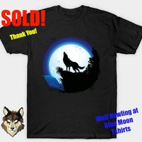 BluedarkArt • SOLD! Thank You! <3 #Wolf #Howling at #Blue #Moon...