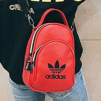 Adidas Fashion New Letter Print Leather Backpack Bag Women Red