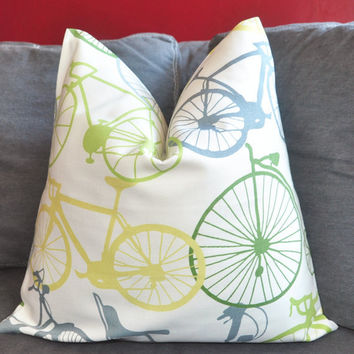ON BOTH SIDES - Pillow Cover - Decorative Pillow Cover - Throw Pillow Cover - Duralee - Bicycle - Citrus Yellow - Green - Gray - 18x18 inch