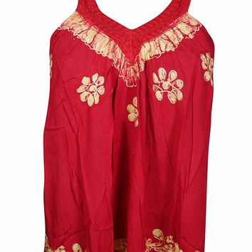 Mogul Interior Flora Women's Boho Tank Top Red Embroidered Sleeveless Blouse S/M