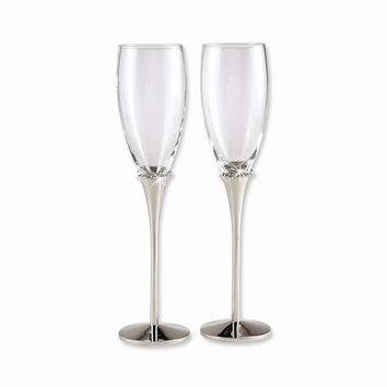 Nickel-plated with Crystal Toasting Flutes - Etching Perfect Wedding Gift
