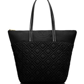 Tory Burch Fleming Quilted Diamond Large Nylon Shoulder Tote