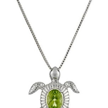 Sterling Silver Peridot Turtle Pendant Necklace, 18""