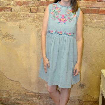 Mint to Be Embroidered Dress