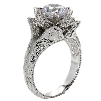 Hand Carved Vintage Inspired Blooming Rose Flower Womens Cubic Zirconia CZ Solitaire Bridal Wedding Engagement Ring