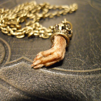 Tiny Crowned Taxidermy Rat Paw Necklace by TheCuriositeer on Etsy