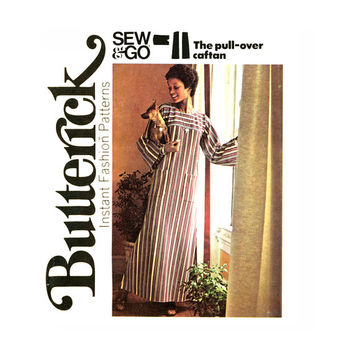 1970s Easy Boho Caftan Vintage Sewing Pattern Bust 38 to 40 Butterick 3916 UNCUT Womens Sew and Go Robe Muu Muu Pullover Lounging Maxi Dress