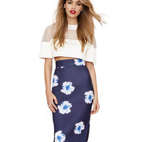 Blue Floral Print High Waisted Hip-Wrapped Skirt