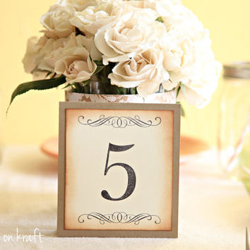 Table numbers, Wedding, Baby Shower, Party Decoration, Vintage theme, Shabby Chic theme