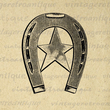 Digital Western Horseshoe with Star Printable Download Horse Shoe Image Graphic Antique Clip Art for Transfers HQ 300dpi No.1773