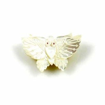 Vintage Carved  Mother of Pearl Moth Brooch w/Red Eyes 1920'S