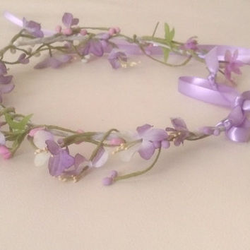 Lavender flower girl halo bridal flower crown Purple Wedding hair wreath headpiece circlet radiant orchid woodland circlet accessories