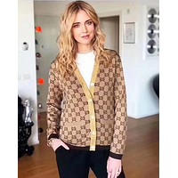 '' Gucci '' Women Gold wire Crochet Buttons Cardigan Knitwear