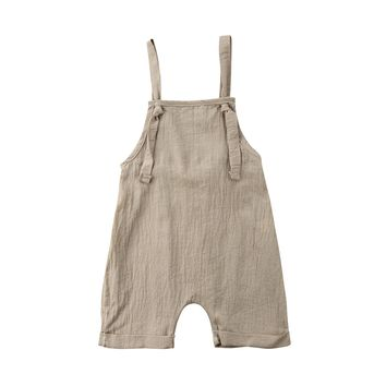 Toddler Kids Boy Girl Bib Romper Summer Linen Cotton Sleeveless Baby Boy Girls Strap Playsuit Outfits