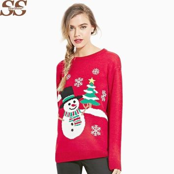 Christmas Sweater Women Sweaters And Pullovers Ugly Christmas Sweater Jumper Pull Femme Winter Fall In Long Halloween