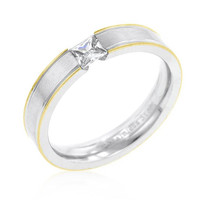 Tension Set Solitaire Stainless Steel Ring, size : 08