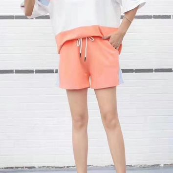 Woman's Leisure  Fashion Letter Embroidery Printing Spell Color Loose Short Sleeve Shorts Two-Piece Set Casual Wear