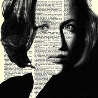 "Agent Scully  - Gillian Anderson  - X Files - Paper Ephemera - 8x11""  Print on Vintage repurposed paper - Dictionary Art Print"
