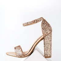 Perrie Rose Gold Glitter Ankle Strap Heels