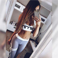 (2 Pcs) Women Floral Printed Floral Printed Sport Suit Fitness Sportswear Stretch Exercise Yoga Top Tank Vest and Leggings pants Set _ 10474