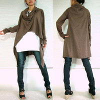 Women Unique Long Cardigan - Cowl Neck Oversized  Wrap - chocolate brown in asymmetrical lagenlook