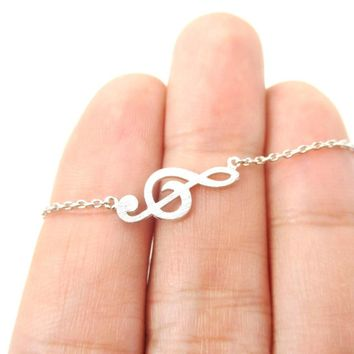 Classic Musical Note Treble Clef Shaped Music Themed Charm Necklace in Silver