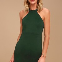 Endlessly Alluring Forest Green Lace Bodycon Dress
