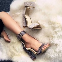 High Heel Chunky Heel Buckle Sparkle Sandals