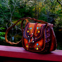 70s Leather Hippie Bag - Tan to Brown Sunburst Fade & Painted Foliage Hand Tooled Boho Bohemian Hobo  - Made in Mexico