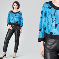 80s Electric Blue Crop Blouse / Floral Shimmery Cropped Top / Black & Blue Boxy Large L Blouse