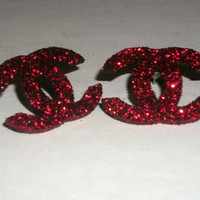 Limited Edition - Hot RED CC Style Glitter Diamond Dust Stud Post Earrings