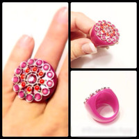 Huge Hot Pink Acrylic Ring with Rhinestones