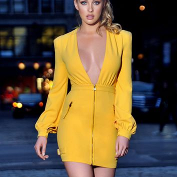 Meant To Be Deep V Long Sleeve Stretch Crepe Dress