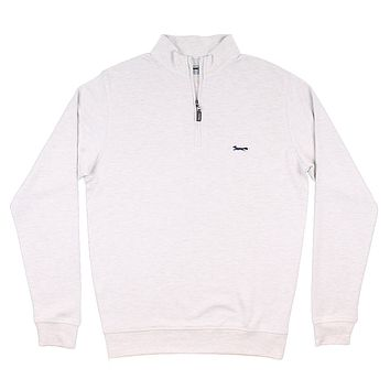 Longshanks Hybrid 1/4 Zip Pullover in Stone by Country Club Prep