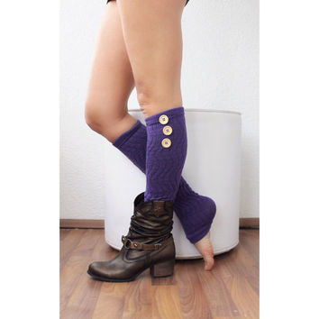 Leg Warmers with buttons, legging. Yoga. Boot cuffs, Pink or purple legwarmers, sock
