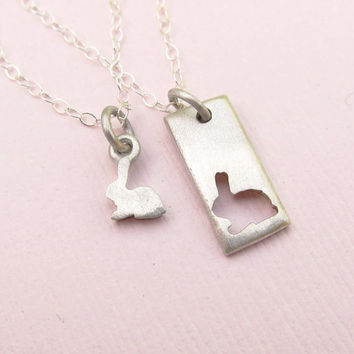 Little Bunny Mother Daughter Jewelry Set -  Silver Necklaces - Rabbit Necklace - Ready to Ship