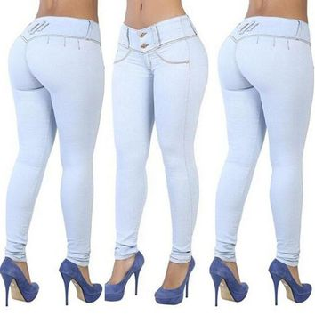 Patchwork Pure Color Long Slim Skinny Pants Jeans