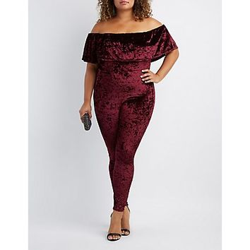 Plus Size Velvet Off-The-Shoulder Jumpsuit | Charlotte Russe