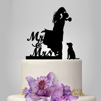 mr and mrs wedding Cake Topper,  Bride and Groom Silhouette Cake Topper, dog silhouette, funny wedding cake topper, unique cake topper